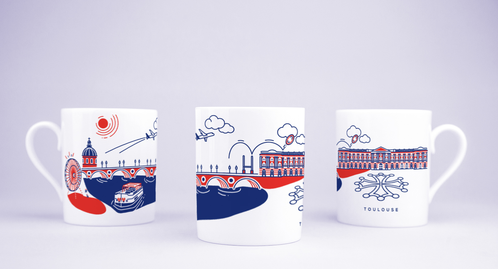 Vue du motif complet du mug Toulouse