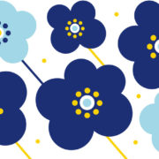 Motif complet du mug Fleurs Bleues